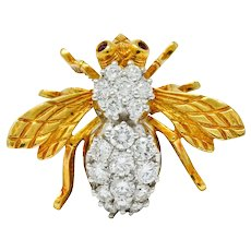 Rosenthal Vintage 2.75 CTW Diamond Ruby Platinum 18 Karat Gold Insect Brooch