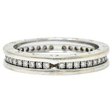 Bulgari 1.20 CTW Diamond 18 Karat White Gold Men's Eternity Band Ring