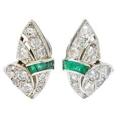 Art Deco 3.50 CTW Diamond Emerald Platinum Fanned Earrings