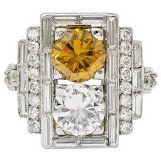 1950's 5.05 CTW Fancy Diamond Platinum Rectangular Cocktail Ring