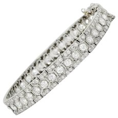 Art Deco 8.80 CTW Diamond Platinum Hexagonal Line Bracelet