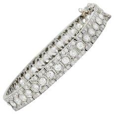 Art Deco 8.80 CTW Diamond Platinum Hexagonal Line Bracelet
