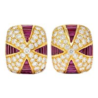 Oscar Heyman 9.02 CTW Diamond Ruby 18 Karat Gold Pave Pyramidal Ear-Clip Earrings