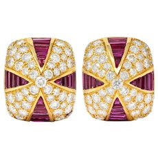 Oscar Heyman 9.02 CTW Diamond Ruby 18 Karat Gold Pave Pyramidal Ear-Clip Earrings