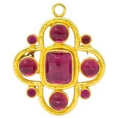 Elizabeth Locke Pink Tourmaline 19 Karat Hammered Gold Quatrefoil Pendant Brooch