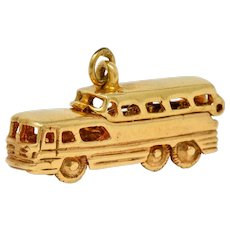 1950's Mid-Century Articulated 14 Karat Gold Scenicruiser Greyhound Bus Charm