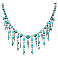 Early Victorian Diamond Turquoise Silver-Topped Gold Collar Necklace