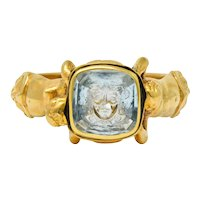Astounding Neoclassical Aquamarine Intaglio 18 Karat Gold Medusa Gorgon Signet Ring Circa 1870