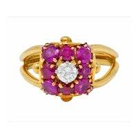 Vintage Diamond Ruby 14 Karat Gold Pave Ball Ring