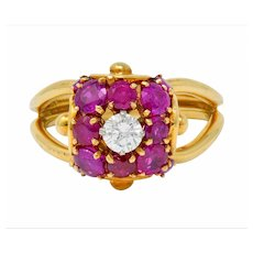 Vintage Diamond Ruby 14 Karat Gold Pave Ball Ring