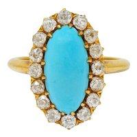 1870's Victorian Diamond Turquoise 18 Karat Gold Cluster Ring