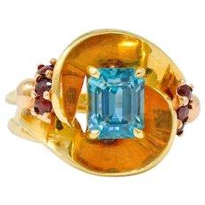 Retro Zircon Garnet 14 Karat Two-Tone Gold Bypass Ring
