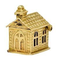 Retro Enamel 14 Karat Gold Chapel Charm