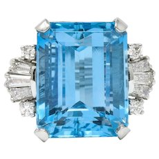 1950's Mid-Century 15.40 CTW Aquamarine Diamond Platinum Cocktail Ring