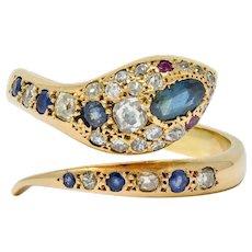 Large Victorian Sapphire Diamond 14 Karat Gold Unisex Bypass Snake Ring