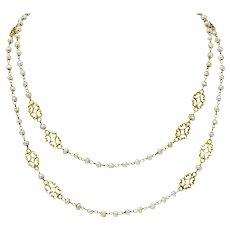 Victorian Freshwater Natural Pearl 18 Karat Gold Multi-Strand Necklace Circa 1900