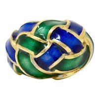 Schlumberger Tiffany & Co. Vintage Enamel 18 Karat Gold Woven Knot Ring