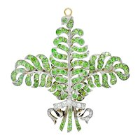 T.B. Starr Demantoid Garnet Diamond Platinum 18 Karat Gold Fern Edwardian Pendant Brooch