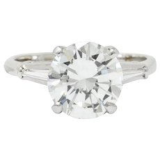 1940's Retro 3.23 CTW Diamond Platinum Engagement Ring GIA