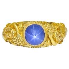 Outstanding Tiffany & Co. Art Nouveau Star Sapphire 14 Karat Gold Bacchantes Unisex Ring