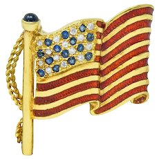 Franklin Mint Sapphire Diamond Enamel 18 Karat Gold American Unisex Flag Brooch