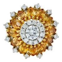 Retro Diamond Precious Topaz 18 Karat Gold Ballerina Halo Ring
