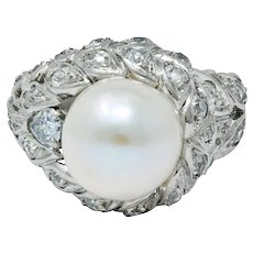 Sterlé Natural Pearl 1.80 CTW Blue And White Diamond Platinum French Foliate Statement Ring GIA