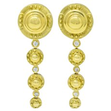 Contemporary Diamond 18 Karat Gold Articulated Circular Drop Earrings