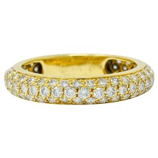 Cartier 1.30 CTW Pave Diamond 18 Karat Gold Vintage Etincelle Eternity Band Ring