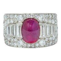 Cartier Art Deco 9.85 CTW No Heat Burma Ruby Pave Diamond Platinum Band Ring AGL