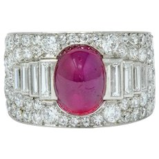 Cartier Art Deco 9.85 CTW No Heat Burma Ruby Pave Diamond Platinum Band Ring AGL
