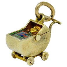 Sloan & Co. Retro Enamel 14 Karat Gold Baby Carriage Charm