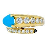 1970's Cartier Paris Diamond Turquoise 18 Karat Gold Bypass Ring Circa 1970s