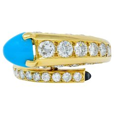 1970's Cartier Paris Diamond Turquoise 18 Karat Gold Bypass Ring Circa 1970s