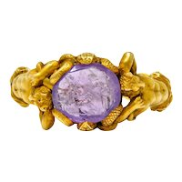 Victorian Roman Ancient Carved Amethyst Intaglio 18 Karat Gold Men's Snake & Devil Ring