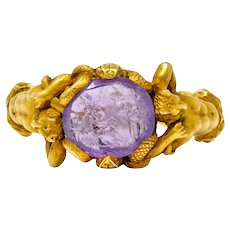 Victorian Roman Ancient Carved Amethyst Intaglio 18 Karat Gold Men's Snake & Devil Ring