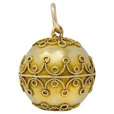 Victorian 14 Karat Gold Decorous Ball Charm Circa 1880s