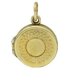 Sloan & Co. Retro 14 Karat Gold Makeup Compact Charm