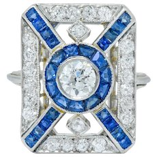 Art Deco 2.26 CTW Diamond Sapphire Platinum Double Halo Dinner Ring
