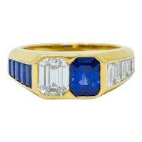 Van Cleef & Arpels 3.57 CTW Diamond Sapphire 18 Karat Gold French Unisex Ring