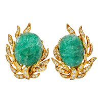 David Webb Mogul Style Diamond Carved Emerald 18 Karat Gold Floral Ear-Clip Earrings