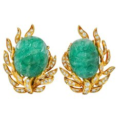 David Webb Mogul Style Diamond Carved Emerald 18 Karat Gold Floral Ear-Clip Earrings