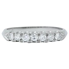 Retro 0.45 CTW Diamond Platinum Fishtail Anniversary Band Ring