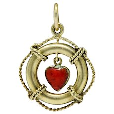 Sloan & Co. Retro 14 Karat Gold Articulated Heart Life Preserver Charm