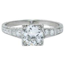 Art Deco 1.00 CTW Diamond Platinum Engraved Foliate Engagement Ring GIA
