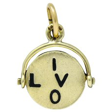 Sloan & Co. Retro 14 Karat Gold Thaumatrope I Love You Charm