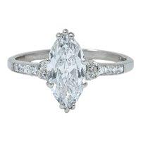 Tiffany & Co. 1.69 CTW Art Deco Marquise Cut Diamond Platinum Engagement Ring GIA