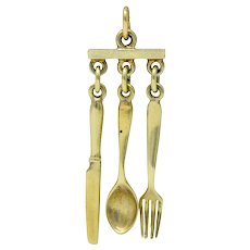 Sloan & Co. Retro 14 Karat Gold Cutlery Charm