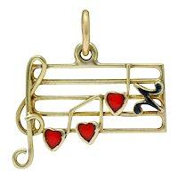 Retro Enamel 14 Karat Gold Music Note Charm