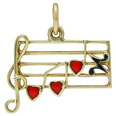 Retro Enamel 14 Karat Gold Music Note Charm